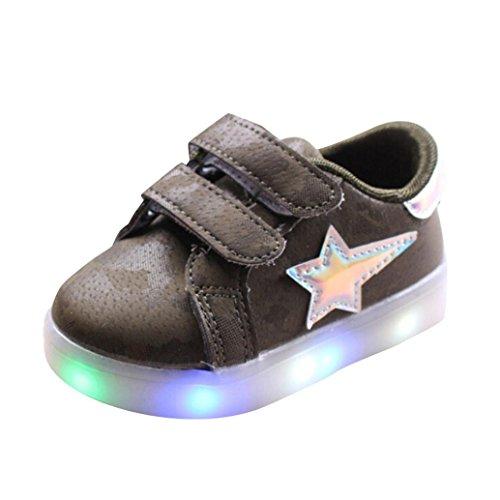 Baby Junge Mädchen LED Beleuchtung Schuhe Erste Walking Trainer HKFV Kinderschuhe Helle Blitzschuhe (24, Grün)
