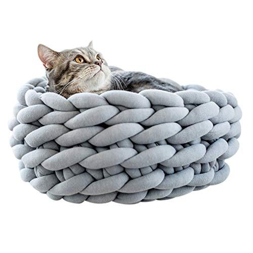 Smilikee Katzenbett Basket Nest Handgestrickter Haustier Schlafsack Dickes, rundes Donut-Haustierbett aus Wolle