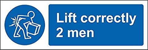 Lift correctly 2 man safety sign - Self adhesive sticker