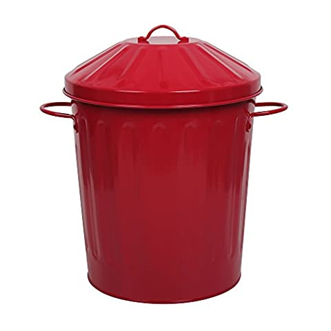 CrazyGadget® Metal 15 Litre 15L Small Round Colour Recycle Dustbin Paper Rubbish Waste Bin with Lid