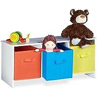 Preisvergleich für Relaxdays Kindersitzbank mit Stauraum ALBUS, bunte Stoffkörbe, Spielzeugtruhe zum Sitzen, Faltbare Stoffboxen, Spielzeugaufbewahrung, HxBxT: ca. 35,5 x 81 x 29 cm, weiß