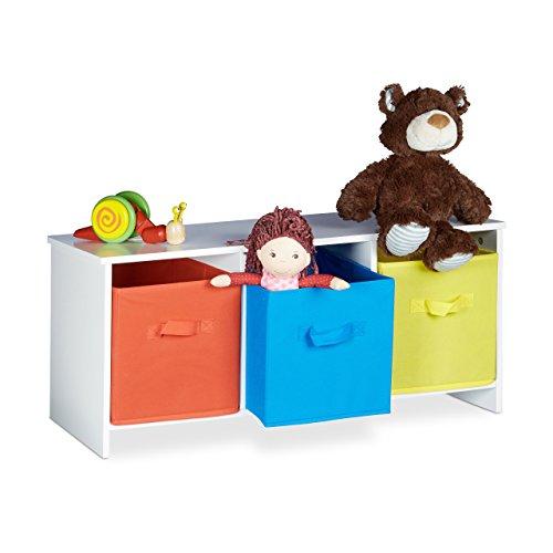 Körben Sitzbank (Relaxdays Kindersitzbank mit Stauraum ALBUS, bunte Stoffkörbe, Spielzeugtruhe zum Sitzen, Faltbare Stoffboxen, Spielzeugaufbewahrung, HxBxT: ca. 35,5 x 81 x 29 cm, weiß)