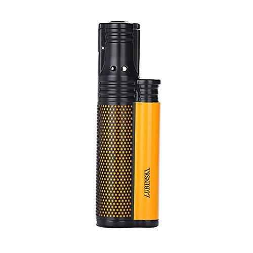 LUBINSKI Zigarettenanzünder 1 Fackel Butan Gas Nachfüllbares Feuerzeug Jet Blau Flamme Metall Feuerzeug mit Schlagen, verpackt mit schönen Geschenkbox