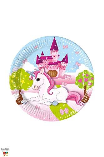 JT-Lizenzen 1 A Fulfillment 85671 8 Teller UNICORN für Kindergeburtstag oder Motto-Party, Pappteller Einhorn Schloss Traumwelt, Pink
