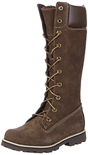 Timberland Asphalt Trail FTK_Classic Tall Lace Up with Side Zip Mädchen Combat Boots, Braun, 30.5 (Lace Up Knee High Schuhe Für Kinder)