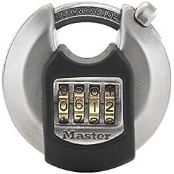 Master Lock M40EURDNUM Cadenas rond extérieur à code 70 mm avec protection extérieure, haute sécurité, anse protégée, Gris