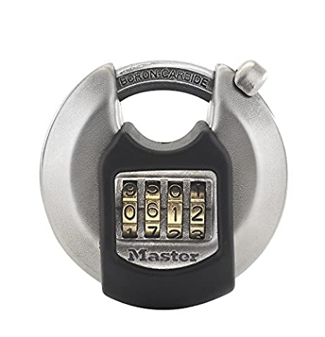 Outdoor and weather resistant Excel Disc padlock with shrouded shackle; 70 mm wide, Resettable combination