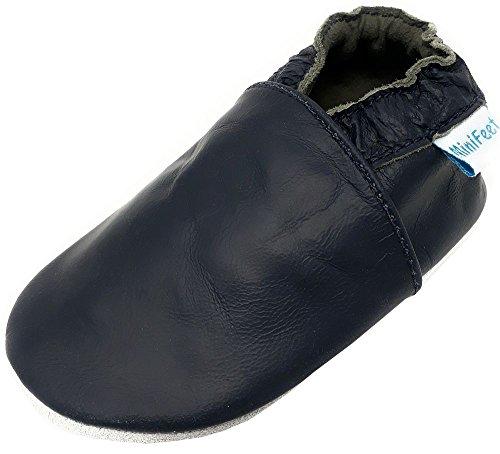 MiniFeet Premium Weiche Leder Babyschuhe, Marine 12-18 Monate