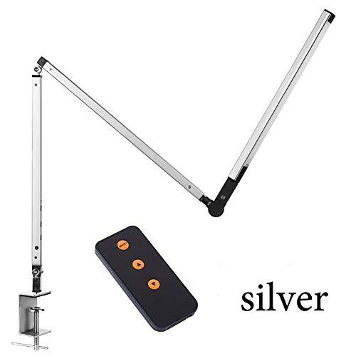 YANODA LED Schreibtischlampe Architect Task Lampe Metall Swing Arm Dimmbare Tischlampe Mit Klemme Hochverstellbares Werkbanklicht (Body Color : Silver, Wattage : 8W) -