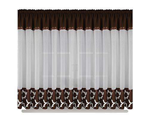FKL Schöne Fertiggardine Fenstergardine Gardine aus Voile Leinen mit Faltenband Kräuselband Smokband Store marokanischer Still Klee 160x400 cm LB-129 (Dunkelbraun)