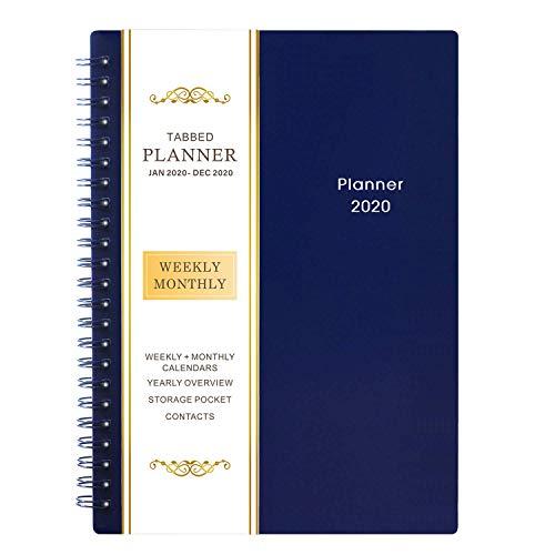 Planer 2020 - Wochen und Monatsplaner, 15 x 22 cm, Flexible Abdeckung, 12 Monatliche Registerkarten, 21 Notizenseiten, Doppeldrahtbindung mit Zweiseitiger Innentasche
