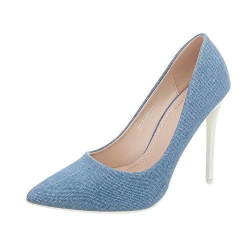 Ital-Design High Heel Pumps Damen-Schuhe High Heel Pumps Pfennig-/Stilettoabsatz High Heels Pumps Blau Weiß, Gr 38, 5015-86C-