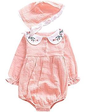 Omiky® Neugeborenes Kind-Kind-langes Hülsen-fester Roomper + Kappen-Overall-Ausstattungs-Kleidung