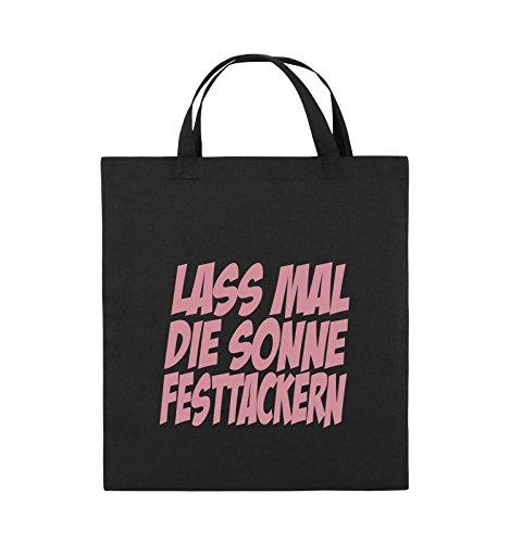 Comedy Bags - LASS MAL DIE SONNE FESTTACKERN - Jutebeutel - kurze Henkel - 38x42cm - Farbe: Schwarz / Silber Schwarz / Rosa
