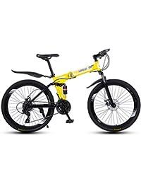 LAX Bicicleta Plegable Montaña 26 Pulgadas, 21 Velocidad De Suspensión De Bicicleta Completa Frenos MTB Engranajes De Doble Disco De Bicicletas De Montaña