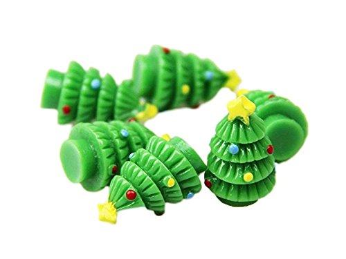 (TjcmSs Micro Landschaft Garten Dekoration Harz Weihnachtsbaum Miniaturfiguren Handwerk Ornament (grün) DIY Gartenverzierungen)
