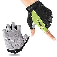 ROCKBROS Bike Gloves Cycling Gloves Half Finger Men Women Mountain Bike Gloves Bicycle Accessories Workout Gloves Shock-Absorbing Pad Anti-Slip Weight Lifting Biking Climbing Exercise Gloves Green-XL