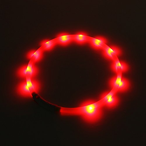 2-TECH LED Visio Leuchthalsband in GELB Deluxe für Hunde und Katzen universell kürzbar, Halsumfang bis 55 cm - 2