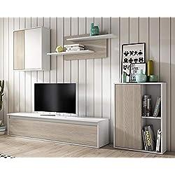 Mueble módulos salón diseño nórdico, Color Blanco y Sable 220x180x38 cm