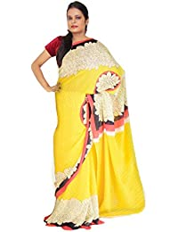 f9312cb320a1a Viukart Yellow Printed Georgette Saree With Blouse Piece