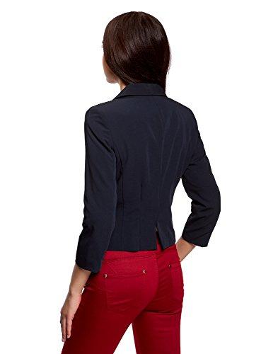 oodji Ultra Damen Taillierter Kurzer Blazer Blau (7900N)
