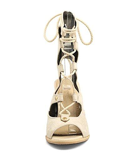 SHIXR Femmes Chaussures à talon ouvert Chaussures à talons hauts à talons hauts beige