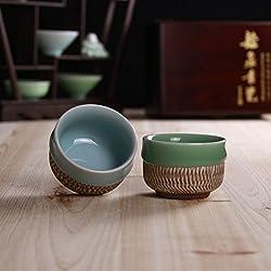 GENERIC Gift Package : Handmade Celadon Tea Set Kung Fu Tea Maker Flow Glaze Carved Patterns Retro Cup Home Decorations Handicrafts Gifts