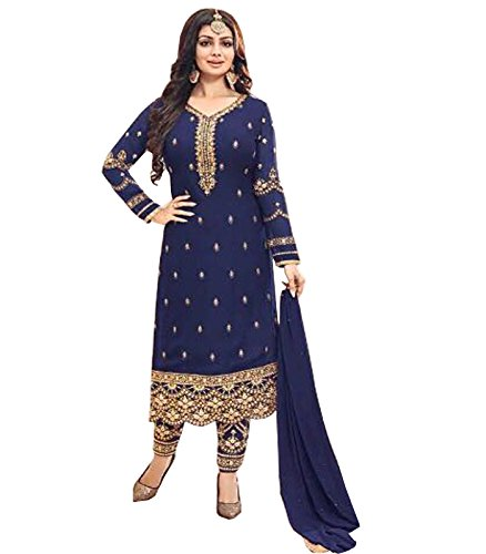 SareeShop Women's Navy Blue Georgette Embroidery Gown Latest Party Wear Designe Straight...