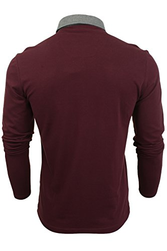 """Brave Soul - Herren Polo T-Shirt """"Lincoln"""" Pique Lange Ärmel Hera - Burgundy"""