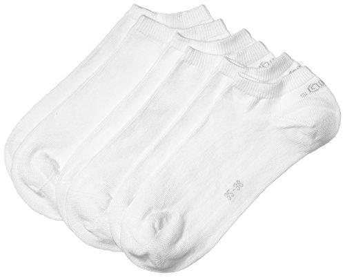 s.Oliver Unisex - Erwachsene Sneakersöckchen 3-er Pack, S24001, Gr. 35-38, Weiß (01 white) -