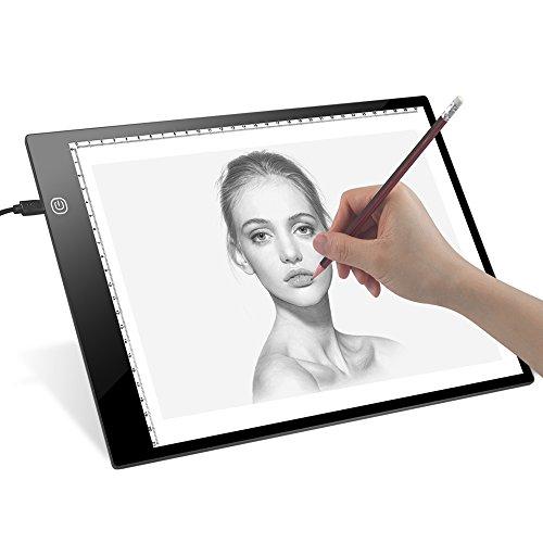 A4LED Bombilla mesa dreamore animations Tattoo Quilting Bombilla mesa para Tracing dibujar con brillo ajustable (USB, 5mm grosor), A1