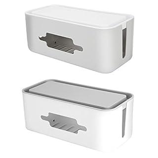 Homyl 2 Stück Kabelbox Kabel Organisator Kasten Kabelmanagement -Grau + Weiß, Draht veranstalter Aufbewahrungsbox für Steckdosenleiste, Steckdose, USB-Hub