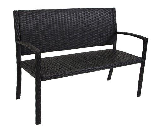 Gartenbank Sevilla 2-sitzer, Metall + Polyrattan schwarz