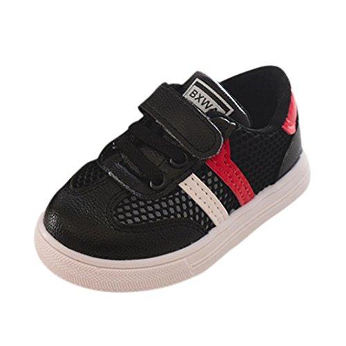 FNKDOR Kinder Baby Wanderschuhe Jungen Mädchen Weiches Soled Sneaker Schuhe Turnschuhe(27,Schwarz) (Baby Leder Phat)