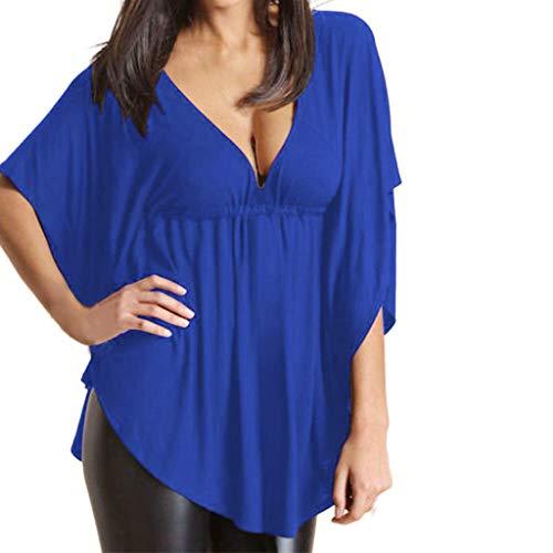 Damen Fledermaus Ärmel Shirt, LeeMon Frauen Plus Größe Fledermausärmel V-Ausschnitt Bandage Stitching Solid Half Sleeve Tops - Bandagen Plus