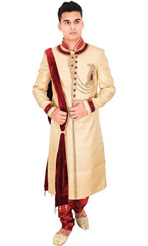 La Rainbow Mens Embroidered Wedding Banarasi Jacquard Sherwani (Beige and Maroon)