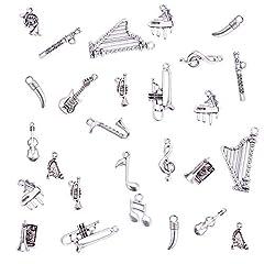 Idea Regalo - PandaHall Elite 90 Pezzi 15 Stile Argento Antico Strumenti Musicali Amuleti Pendenti in Lega Stile Tibetano per Fare Gioielli Fai da Te