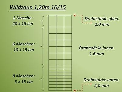 Wildzaun Forstzaun Weidezaun Drahtzaun Knotengeflecht 120cm/125cm/130cm & 200cm hoch 4 verschiedene Zaunarten von 070.668.689.025.5 - Du und dein Garten