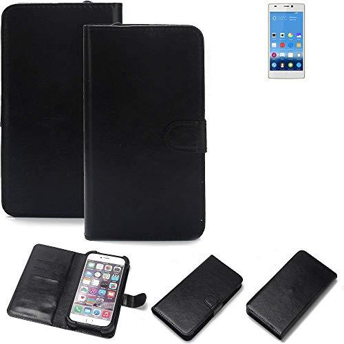 K-S-Trade Wallet Case Handyhülle für Gionee Elife S5.5 Schutz Hülle Smartphone Flip Cover Flipstyle Tasche Schutzhülle Flipcover Slim Bumper schwarz, 1x