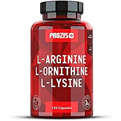 Prozis L-Arginine L-Ornithine L-Lysine: Pure supplement in capsules. Complex of essential amino acids to optimize cardiovascular health, weight loss and energy levels.120 capsules