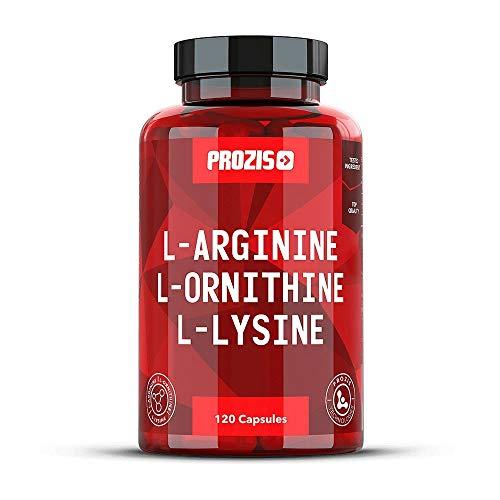 Prozis reines L-Arginin L-Ornithin L-Lysin Ergänzungsmittel Kapseln - Essentieller Aminosäurenkomplex zur Unterstützung der kardiovaskulären Gesundheit, Gewichtsverlust und Energie - 120 Kapseln!