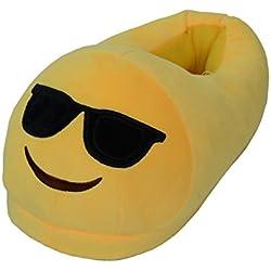 Emoji Zapatillas Peluche para Niños Niñas, Zapatillas de Estar por Casa Kids Lindo Cartoon Antideslizantes Invierno Slippers Pantuflas Calientes de la Peluche Talla única 35-44 (Sunglasses)