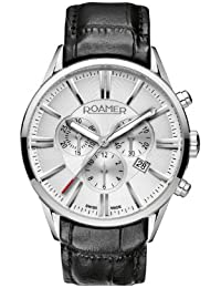 Roamer Superior Men's Quartz Watch with Silver Dial Chronograph Display and Black Leather Strap