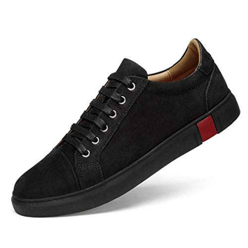 YAN Herrenschuhe Low-Top Sneaker Suede Herbst & Winter Trainer Smart Casual Lace up Boot/Deck Schuhe/Loafers, Schwarz/Braun (Farbe : Schwarz, Größe : 45) -