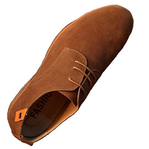 SIMPVALE Homme Chaussures de ville a Lacets Suede Oxfords Kaki