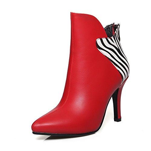 AllhqFashion Damen Gemischte Farbe Hoher Absatz Spitz Zehe Reißverschluss Stiefel, Rot, 36