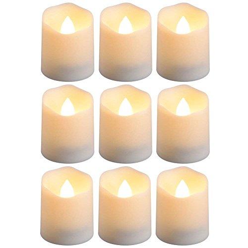 PChero Batterie betrieben Timer Kerzen, 9 Stück flammenlose LED Teelicht Kerzen für Geburtstag Hochzeit Wohnkultur, 200 Stunden (inkl. Batterien), warmweiß (Betrieben Teelicht Batterie)