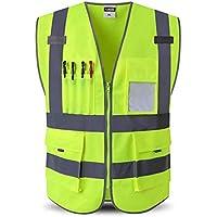 RAINCOAT Fahrradanzug- Reflektierende Weste, Hochsichtbare Konstruktion Hygiene-Sicherheitstasche Mit Mehreren Taschen -Regenmantel (Farbe : Fluoreszierendes Gelb, größe : XXL)