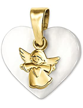 CLEVER SCHMUCK Goldener Anhänger kleiner Kinderengel matt auf Herz aus Perlmutt 12 x 14 mm glänzend 333 GOLD 8...