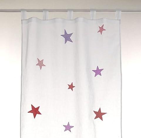 bambiente Kinderzimmer Vorhang Gardine 'Stars girls' 105x265cm mit Schlaufen Baumwolle weiss transparent 1